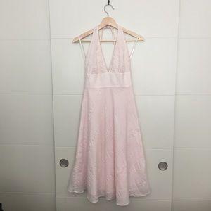 J. Crew Embossed Linen Halter Dress in Baby Pink