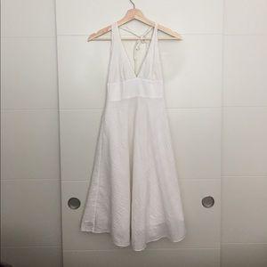 J. Crew White Embossed Linen Halter Dress