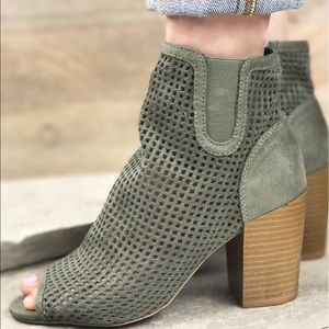 Olive Perforated Peep Toe Bootie