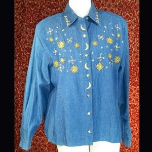 WESTBOUND blue denim embroidered shirt blouse M