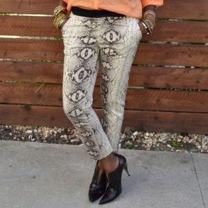ZARA Snakeskin Skinny Ankle Trouser Pant