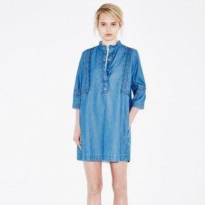 MiH Angie Scalloped Chambray Dress - Size XS
