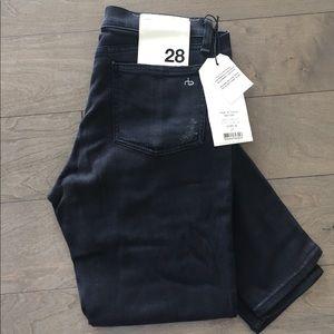 rag & bone black size 28 skinny distressed jeans