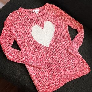 Tops - Pink White Heart Sweater