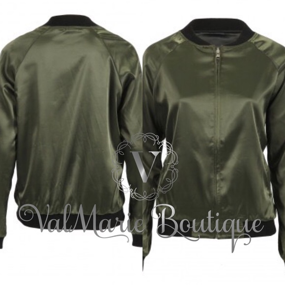 ValMarie Boutique LLC Jackets & Coats - Reversible Satin Feel Bomber Jacket XS S M