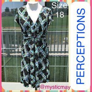 Black Multicolor Abstract Print Career Dress Sz 18