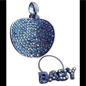 Jewelry - IRIDISCENT 2-PIECE PENDANT 7 RING SET