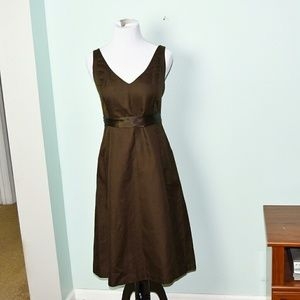 J. Crew Chocolate Colored Flowy Ribbon Dress