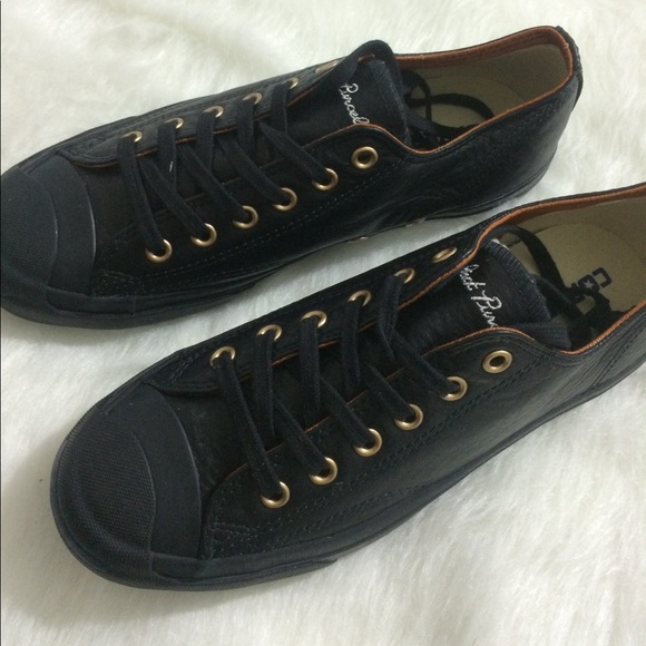 b954ae8a4aad Converse leather black jack purcell custom shoes