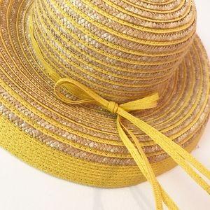 Vintage Yellow Stripe Straw Summer Hat