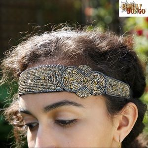 Fair Trade Handmade Infinity Gold Beaded Headband