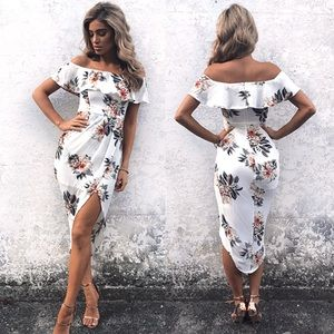 Off Shoulder Ruffle Overlay White Floral Dress