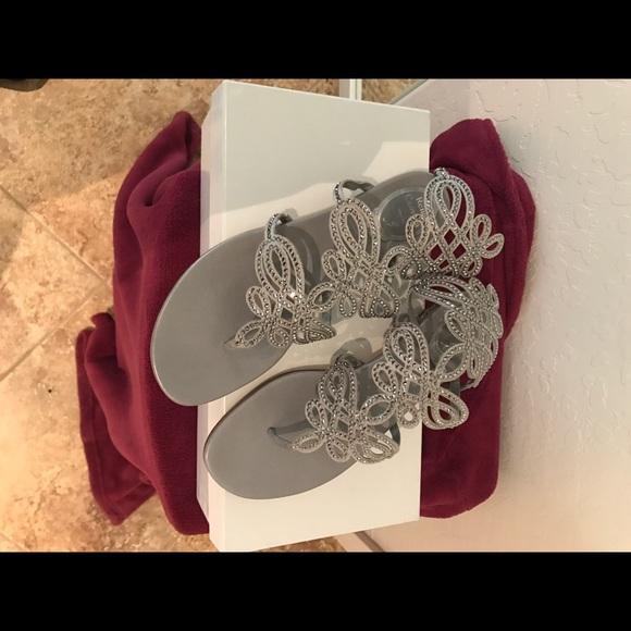 be06fbe67e5e Rene Caovilla Crystal Laser-Cut Flat Sandal Silver