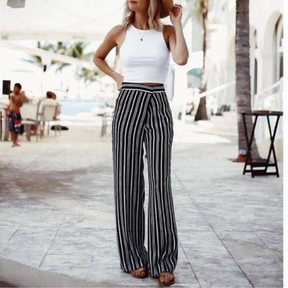 3ce4b08ab795f0 Express Pants | Striped Paper Bag Waist Size M | Poshmark