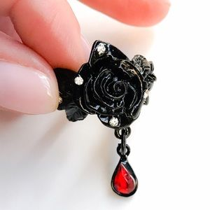 Black Passion Rose Swarovski Crystal Ring 6.5