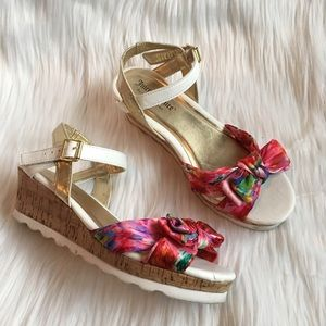 Juicy Couture Floral Bow Open Toe Cork Wedges
