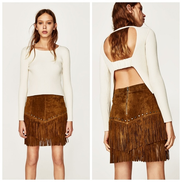 85af30a88c Zara Skirts | New Suede Leather Fringe Studded Mini Skirt | Poshmark