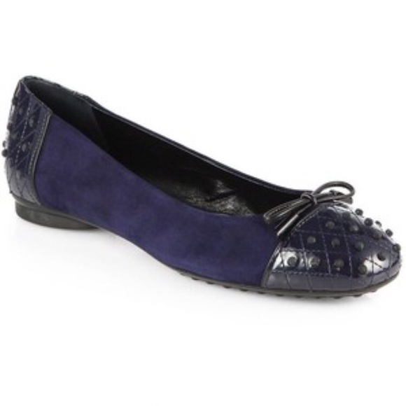 387b2c12390 Tod s Dew Quilted Patent Leather   Suede Flat. M 5955ab22b4188e825301254c