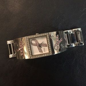 Guess silver breast cancer watch.