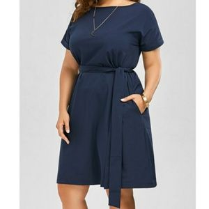 Dresses & Skirts - Plus Size Navy Blue Belted Dress