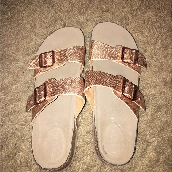 3cadcd40691 Birkenstock Shoes - Madden girl rose gold sandals