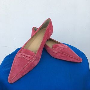 J. Crew pink suede pointed flat shoes