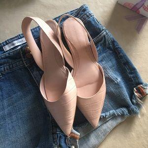 Zara flats in blush