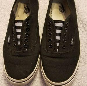 Vans black & white slip on shoes men 7.5 women 9