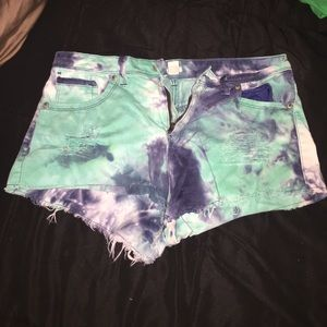 Forever 21 Blue Tie Dye High Waisted Shorts
