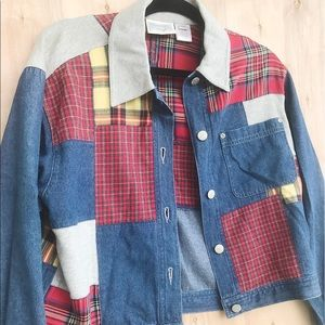Jean jacket with flannel patchwork
