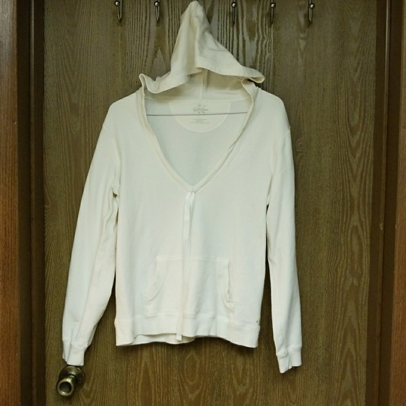 Calvin Klein Tops - Calvin Klein white women's low v-cut hoodie