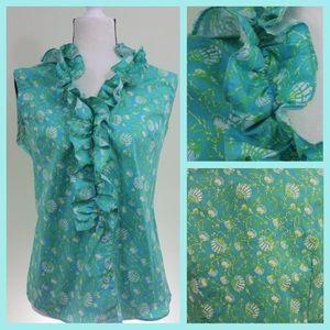 Tops - Preppy Ruffle Collar Blouse, Aqua & Green & Shell