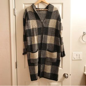Sweaters - Long hooded cardigan