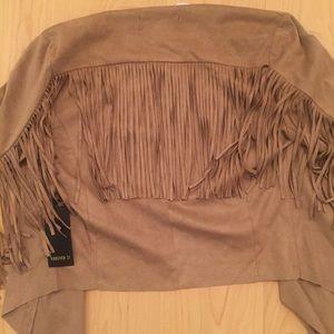 Fringe light weight tan suede jacket