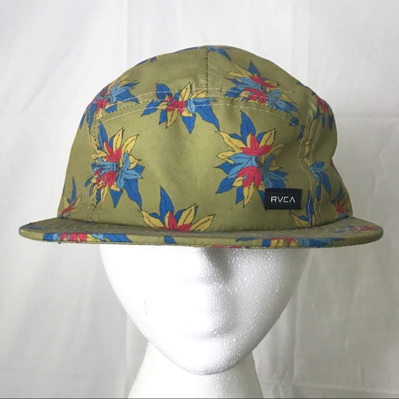 8afc7a1c16b RVCA Green Scamp Camper 5 Panel Strapback Hat. M 59560bb8eaf030879d028d2d