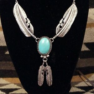 Silver Feather & Turquoise Howlite Necklace Set