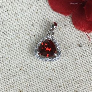 Jewelry - CZ Red and White Diamond Sterling Silver Pendant