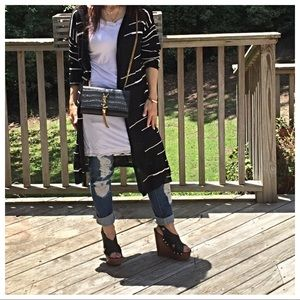 Jackets & Blazers - 🆕 Paris black and white hooded cardigan