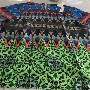 JCrew silk print top