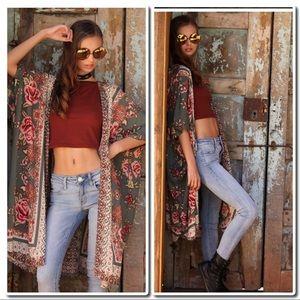 Tops - Paisley Print Kimono Duster