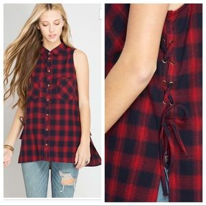 Tops - Sleeveless plaid button down with lace up sides