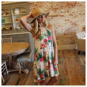 Tropical print halter tie sleeveless dress