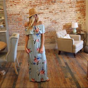 Dresses & Skirts - Sage floral off shoulder maxi dress