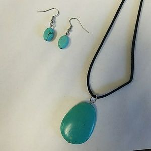 Handmade Turquoise stone necklace and earring set