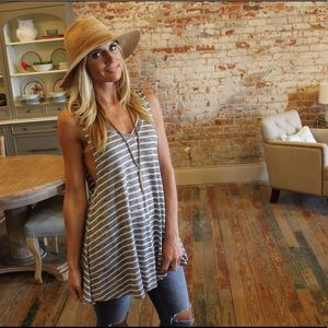 Soft gray striped knit tank with drop sides