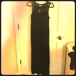 Black Maxi Dress with Lace Back
