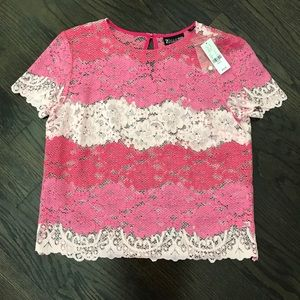 New York & Company Tops - NY&Co Pink Colorblock Lace Blouse Short Sleeve Top