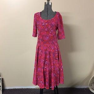 Lularoe Nicole Dress Pink Purple Floral NWT
