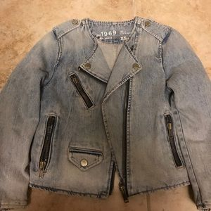 Like New Gap denim moto jacket- XS.
