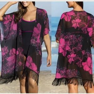 Other - Gorgeous Pink&Black Kimino Swim Cover Up🌺🖤NWOT